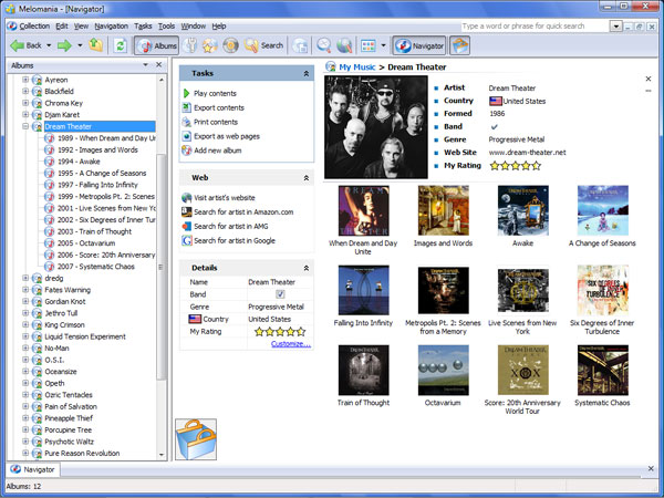 Melomania is a handy music collection software for Windows.